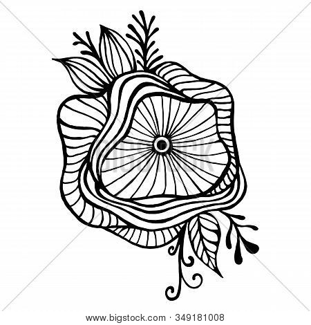 Abstract Fantasy Flower Framed By Leaves And Buds Coloring Page. Doodle Style Elegant Floret