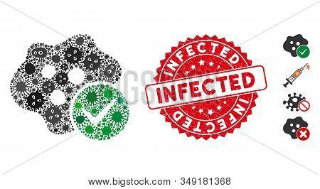Pandemic Mosaic Infected Icon And Rounded Distressed Stamp Seal With Infected Phrase. Mosaic Vector