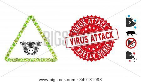 Fever Collage Pig Warning Icon And Rounded Rubber Stamp Seal With Virus Attack Text. Mosaic Vector I