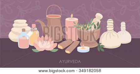 Vector Illustration Ayurveda. Equipment For The Ayurvedic Massage, Kerala And Shirodhara Treatment.