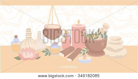 Vector Illustration Ayurveda. Horizontal Web Banner Design With Objects For Ayurvedic Massage. Shiro