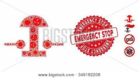 Outbreak Mosaic Emergency Stop Button Icon And Rounded Grunge Stamp Seal With Emergency Stop Caption