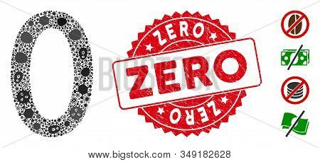 Viral Mosaic Zero Digit Icon And Round Distressed Stamp Watermark With Zero Phrase. Mosaic Vector Is