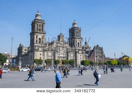 Mexico City - Jan. 14, 2020: Zocalo Constitution Square And Metropolitan Cathedral At Historic Cente