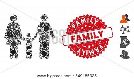 Contagion Mosaic Family Child Icon And Rounded Distressed Stamp Seal With Family Caption. Mosaic Vec