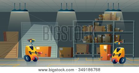 Cartoon Storehouse With Robot-workers, Delivery By Smart Technologies. Background With Automation In