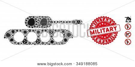 Virus Mosaic Military Tank Icon And Round Grunge Stamp Watermark With Military Text. Mosaic Vector I