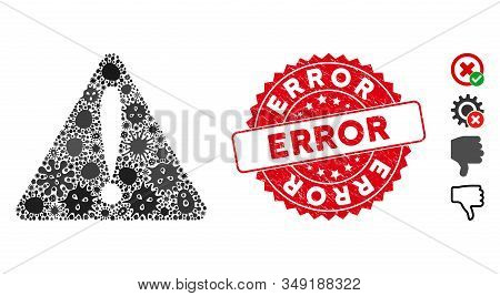 Fever Collage Warning Error Icon And Round Distressed Stamp Seal With Error Caption. Mosaic Vector I
