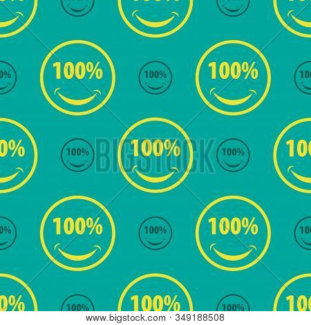 Seamless Smile Face With 100% Eyes Flat Pattern On Teal Color Background