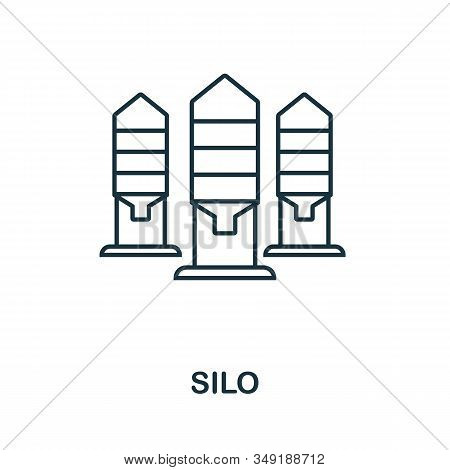 Silo Icon. Thin Line Style Element From Farm Icons Collection. Outline Silo Icon For Computer And Mo