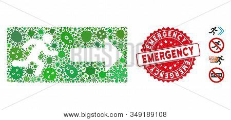 Contagious Mosaic Emergency Exit Icon And Round Corroded Stamp Seal With Emergency Caption. Mosaic V