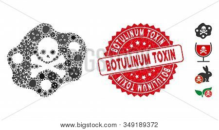 Infection Mosaic Botulinum Toxin Icon And Round Rubber Stamp Watermark With Botulinum Toxin Caption.