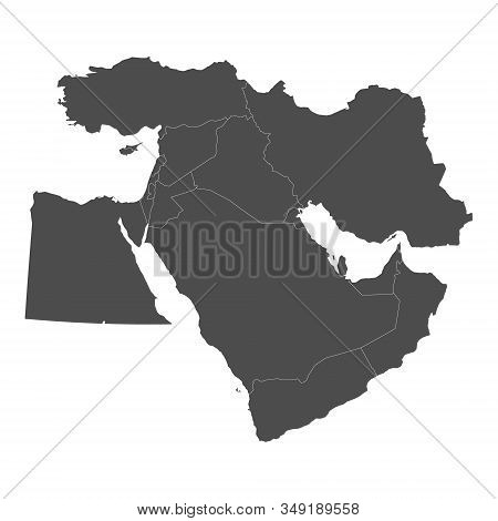 Map Of Middle East With Borders Of Countries