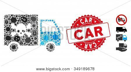 Epidemic Mosaic Toxic Transportation Car Icon And Rounded Corroded Stamp Seal With Car Phrase. Mosai