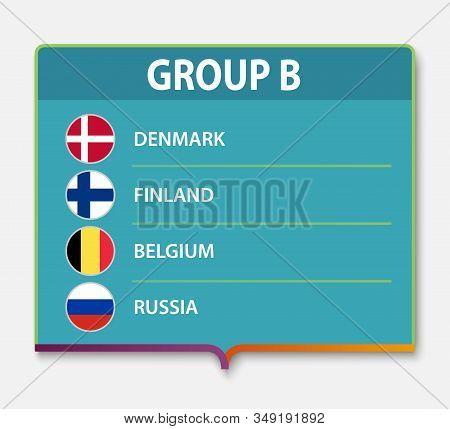 European Football Tournament Group B. 2020 Euro Soccer Championship Flag