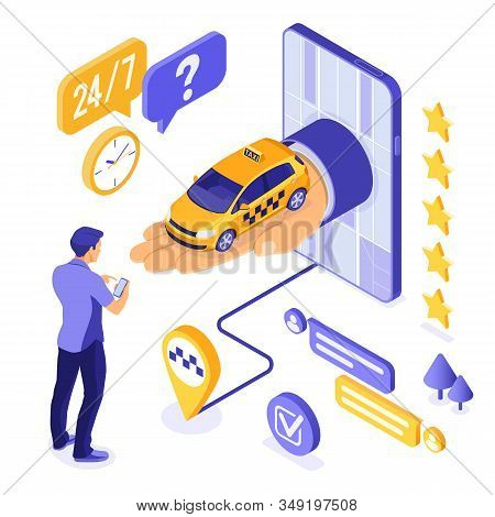 Online Taxi Isometric Concept. Hand From Phone With Taxi Car. Passenger And Route Pin. Online Intern