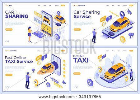 Car Sharing And Online Taxi Landing Page Templates. Man And Girl Online Choose Car For Carsharing Or