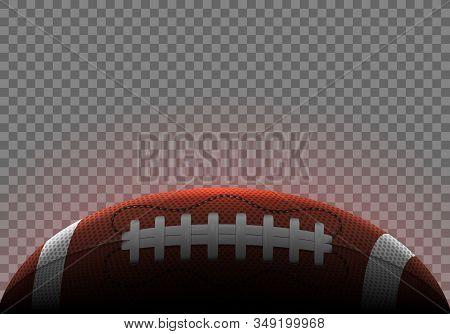American Football Ball Horizontal Banner. Realistic Icon. Vector Illustration Isolated On Transparen