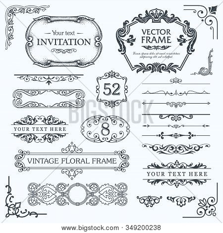 Flourish Border Corner And Frame Collection. Decorative Elements For Design Invitations, Frames, Men