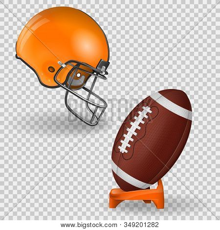 American Football Poster With Ball, Stand And Side View American Football Helmet. Vector Icon Isolat