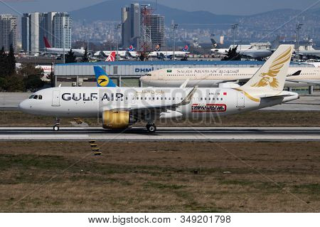 Istanbul / Turkey - March 28, 2019: Gulf Air Airbus A320 Neo A9c-tb Passenger Plane Departure At Ist