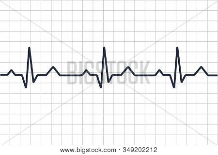 Heart Disease Cardiogram. Heartbeat Line. Cardiogram. Electrocardiogram. Heart Pulse Monitor With Si
