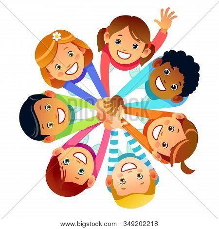 Kids Friends From Around The World Around Their Hands. Multinational Friendship Of Children Of Frien