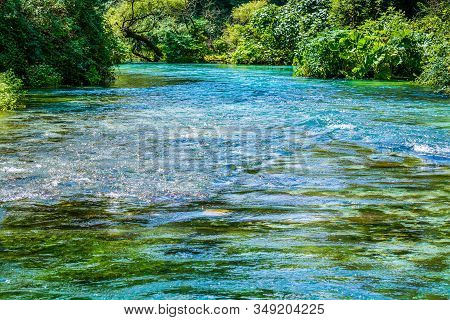 Blue Eye - Syri I Kalter - Source With Crystal Clear Water In Albania In Summer