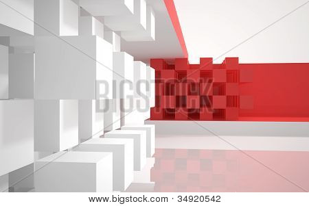 The abstract architecture of the building with red cubes