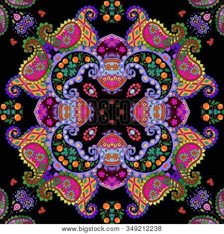 Colorful Seamless Pattern With Bright Ornament In Ethnic Style. Ceramic Tile. Kaleidoscope. Cute Hom