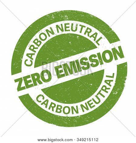Green Round Zero Emission Carbon Neutral Rubber Stamp Print Vector Illustration