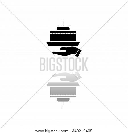 Pie. Black Symbol On White Background. Simple Illustration. Flat Vector Icon. Mirror Reflection Shad