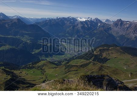View Towards The Valley Of The River Reuss In Central Switzerland