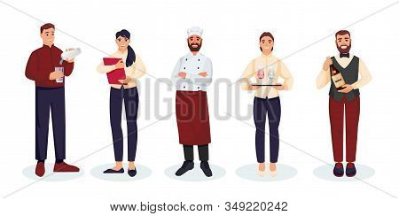Restaurant Staff Team, Isolated On White Background. Vector Flat Illustration. Men And Women Profess