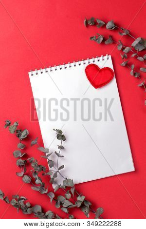 Eucalyptus Branch With Card And Hearts On A Red Background. Copy Space.