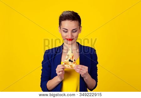 Fast Fat Food Love. Closeup Portrait Young Eager Greedy Confused Woman Holding Looking At Fatty Pizz