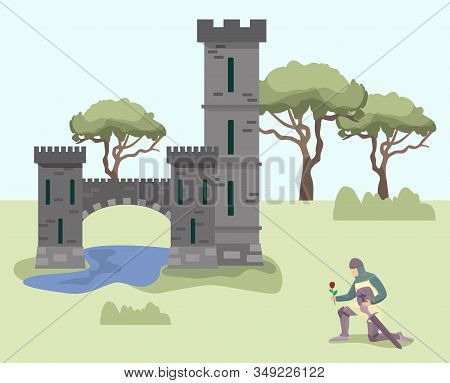 Knight Stands On One Knee In Front Of Medieval Royal Princess Castle Palace. Knight Enamored Warrior