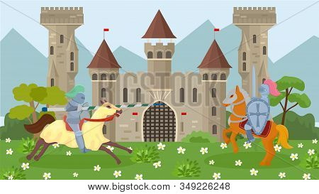 Battle Of Medieval Knights On Horseback Vector Illustration. Knights In Armor, With Shields And Weap