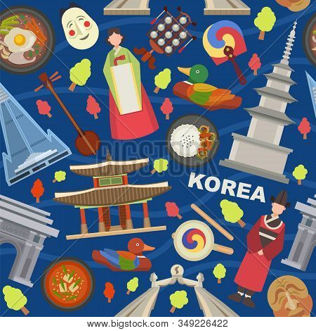 Korea Landmarks And Symbols Vector Illustration Seamless Pattern. Tourists Trip Invitation And Adver