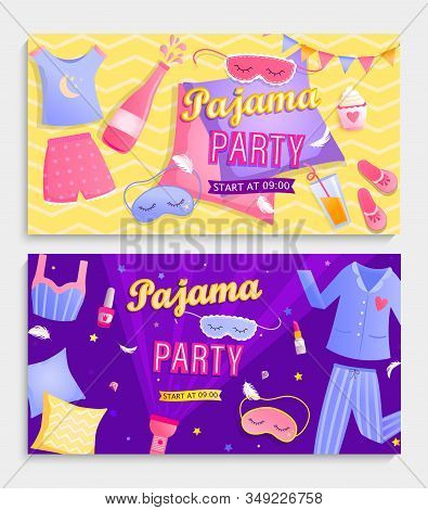 Set Of Pajama Partys Invitation Banners.night Time For Kids And Parents, Nightwear, Pillows, Games,