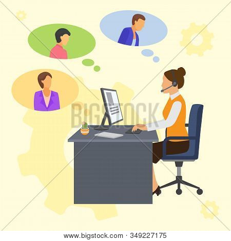 Online Customers Support Service Centre And Helping Woman Consultant Vector Illustration. Office Ope