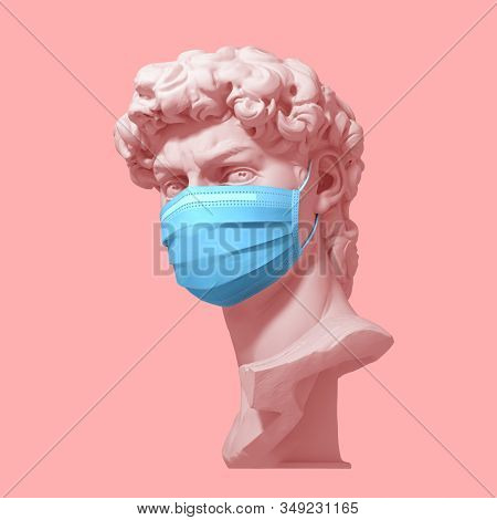 Head Of David In Medical Mask On Pink Background. Concept Of Coronavirus Quarantine. 3d Illustration