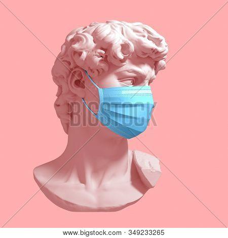 Head Of David In Medical Mask. Concept Of Coronavirus Quarantine. 3d Illustration.