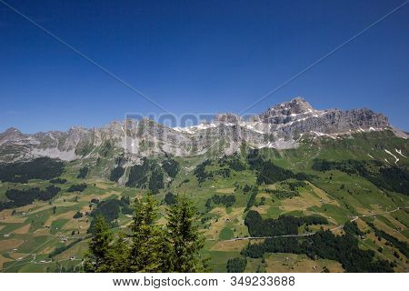 Beautiful Panorama Of The Swiss Mountains In Central Switzerland