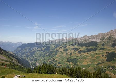 Beautiful View Over The Mountains In Switzerland