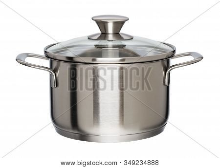 New Metal Pan With Glass Lid Isolated On White Background. Modern Kitchen Utensils With Thick Bottom