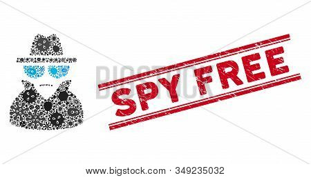 Infectious Mosaic Spy Icon And Red Spy Free Stamp Between Double Parallel Lines. Mosaic Vector Is Cr