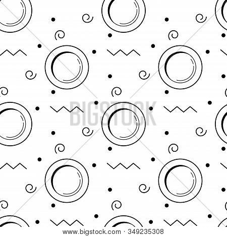 Plate Cooking Or Kitchen Seamless Pattern. Black Line Art Vector Circle Plates And Decorative Elemen