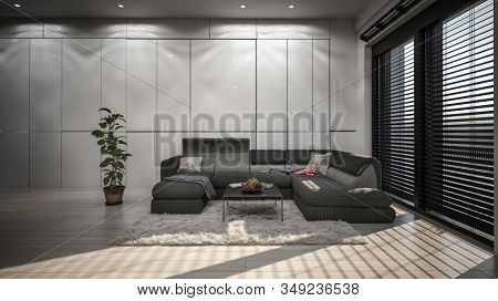 Spacious living room with modern interior design with grey walls of rectangular panels, wide corner couch and bright sunlight coming from wide windows with horizontal blinds. 3d Rendering