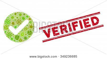 Infection Mosaic Accept Icon And Red Verified Seal Stamp Between Double Parallel Lines. Mosaic Vecto